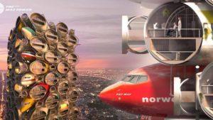 Des tours faites de carcasses d'avions (representation 3D).
