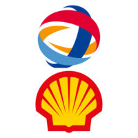 Photomontage des logos de Shell et Total.