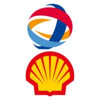 Photomontage des logos de Shell et Total.